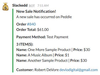 Slackedd Bot output in Slack