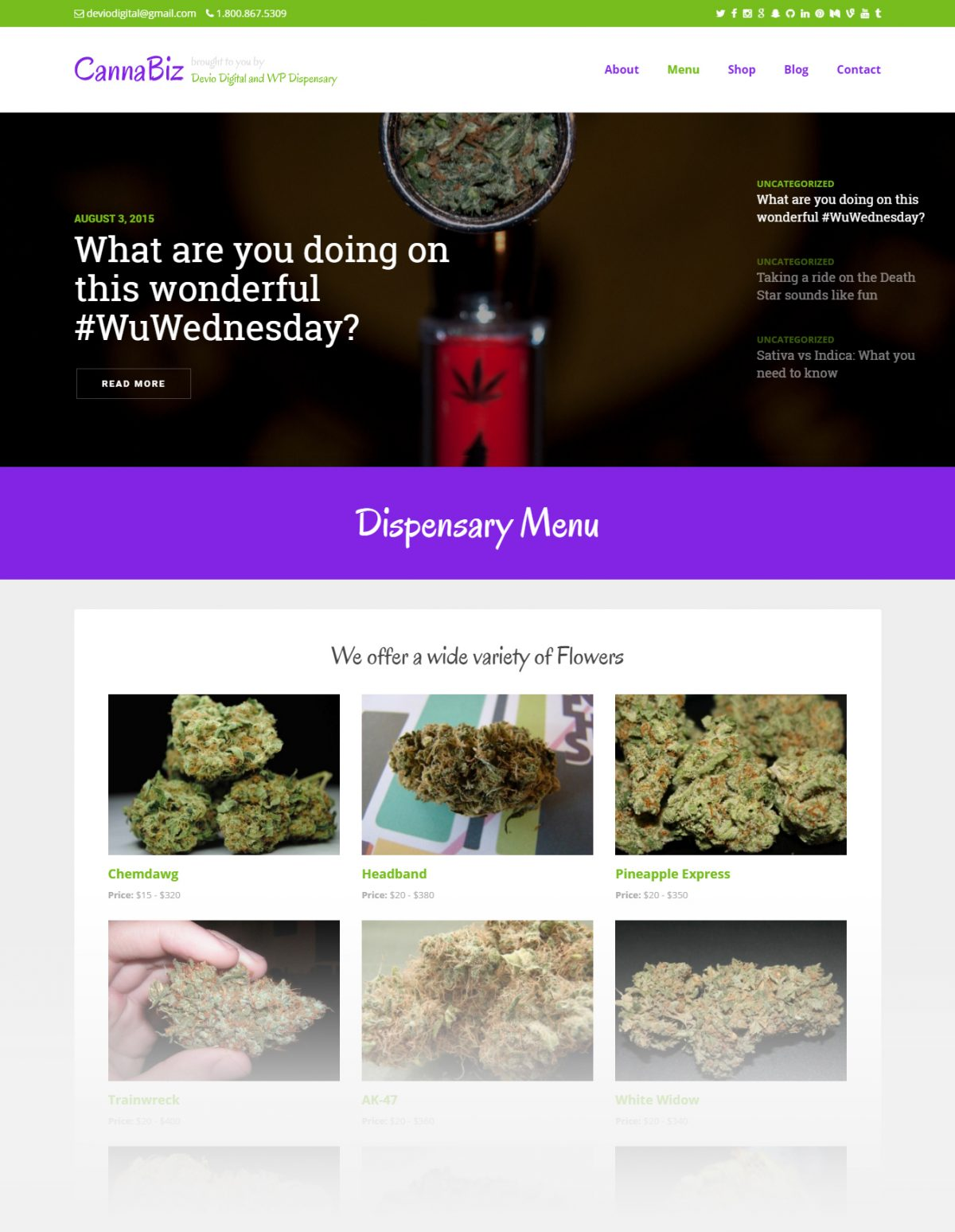 CannaBiz WP Dispensary's commercial WordPress theme for businessess in the cannabis industry