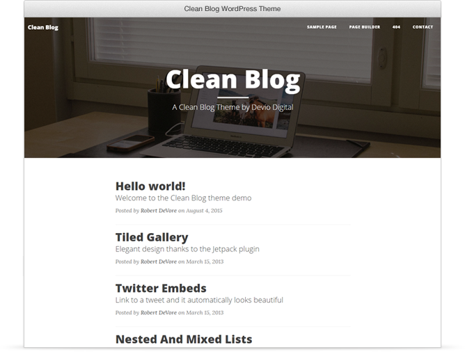 Clean Blog WordPress theme for bloggers
